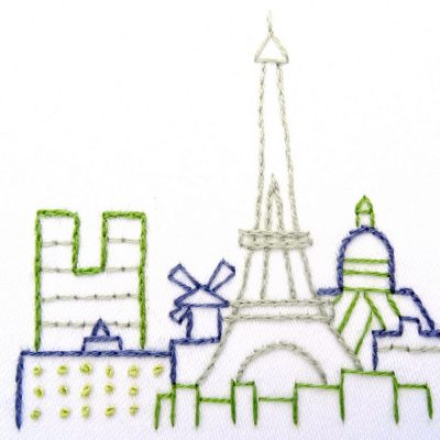 Paris City Skyline Hand Embroidery Pattern