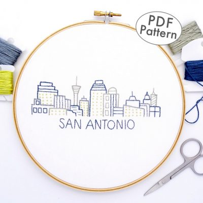 San Antonio City Skyline Hand Embroidery Pattern