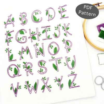 Nature Alphabet Hand Embroidery Pattern