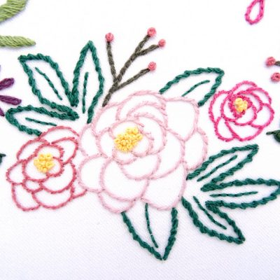 Peony Wreath Hand Embroidery Pattern