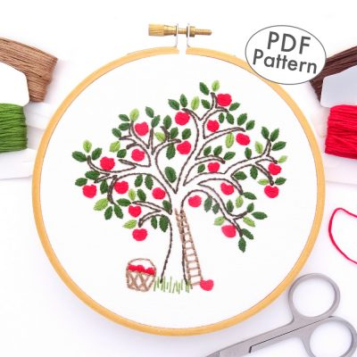 Apple Tree Hand Embroidery Pattern