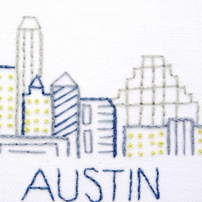 Austin City Skyline Hand Embroidery Pattern