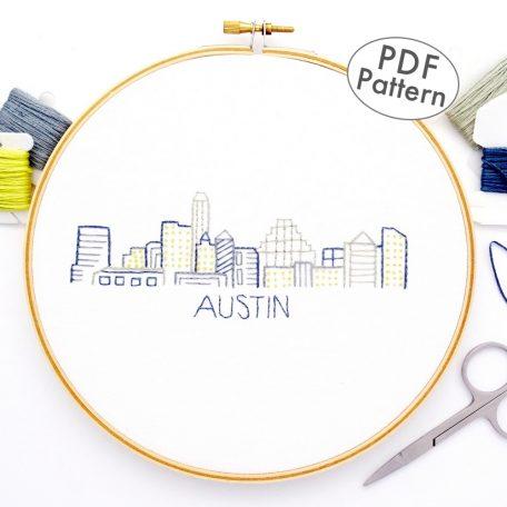 Austin City Skyline Hand Embroidery Pattern