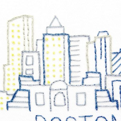Boston City Skyline Hand Embroidery Pattern