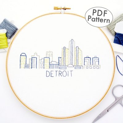 Detroit City Skyline Hand Embroidery Pattern