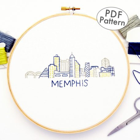 Memphis Skyline Hand Embroidery Pattern