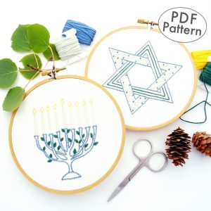Menorah & Star of David Hand Embroidery Pattern Set