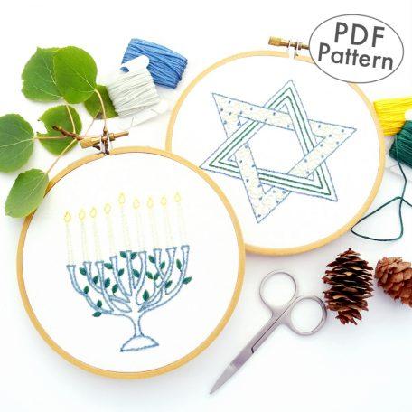 Menorah & Star of David Hand Embroidery Pattern Set