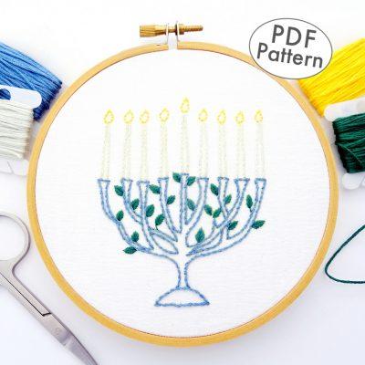 Menorah Hand Embroidery Pattern