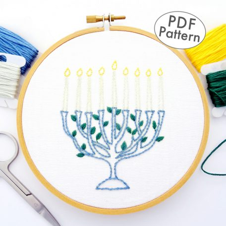 Menorah Hand Embroidery Pattern