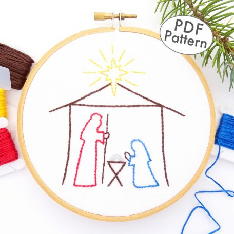 Christmas Nativity Hand Embroidery Pattern