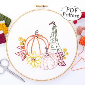 Pumpkins & Leaves Hand Embroidery Pattern