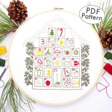Advent Calendar Hand Embroidery Sampler Pattern