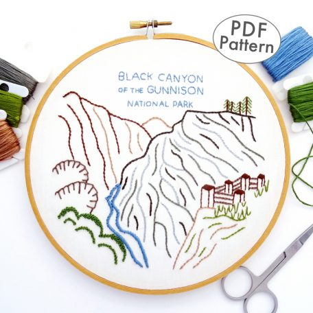 Black Canyon of the Gunnison National Park Hand Embroidery Pattern