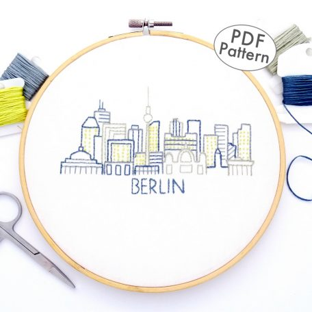 Berlin City Skyline Hand Embroidery Pattern