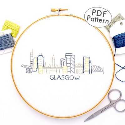 Glasgow City Skyline Hand Embroidery Pattern