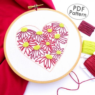 Flower Heart Hand Embroidery Pattern