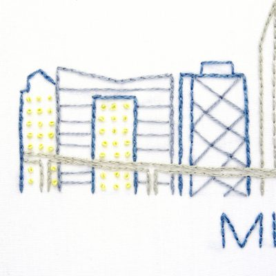 Miami City Skyline Hand Embroidery Pattern