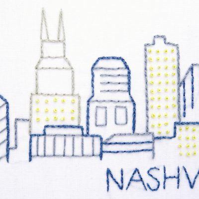 Nashville City Skyline Hand Embroidery Pattern
