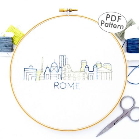 Rome City Skyline Hand Embroidery Pattern