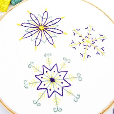Snowflake Trio Hand Embroidery Pattern