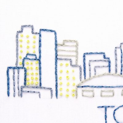 Toronto City Skyline Hand Embroidery Pattern
