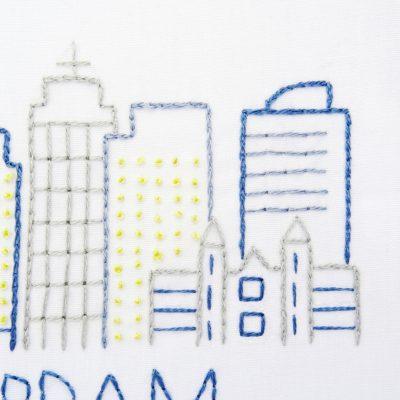 Amsterdam City Skyline Hand Embroidery Pattern