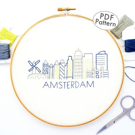 Amsterdam City Skyline Hand Embroidery Pattern