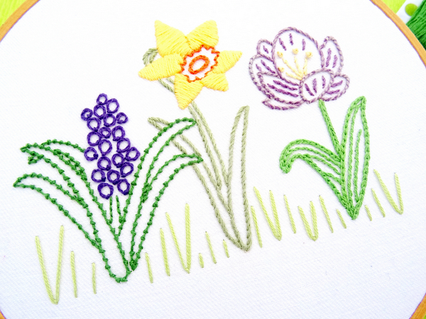 Free Spring Flowers Embroidery Pattern