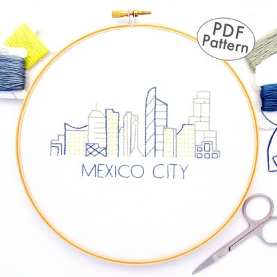 Mexico City Skyline Hand Embroidery Pattern
