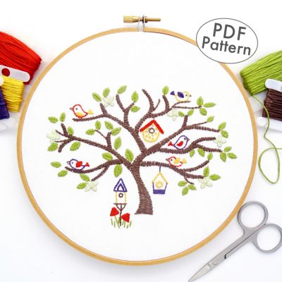 Birdhouse Tree Hand Embroidery Pattern