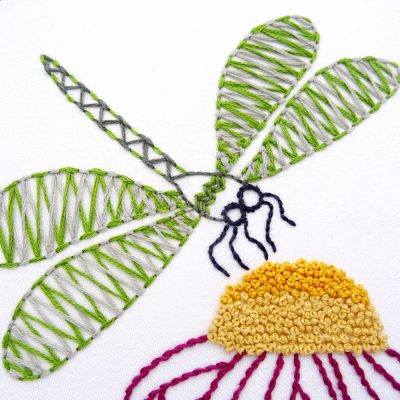 Chevron Dragonfly Hand Embroidery Pattern