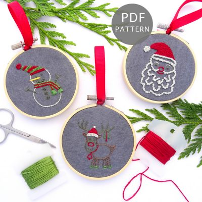Christmas Characters Ornament Set Hand Embroidery Pattern