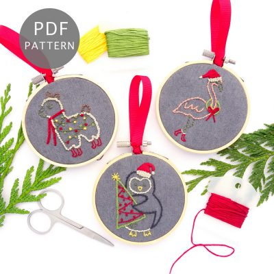 Silly Animals Ornament Set Hand Embroidery Pattern