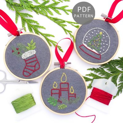 Christmas Traditions Ornament Set Hand Embroidery Pattern