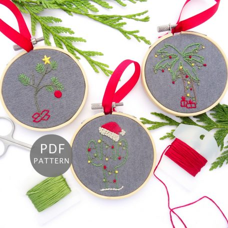 Creative Christmas Trees Ornament Set Hand Embroidery Pattern