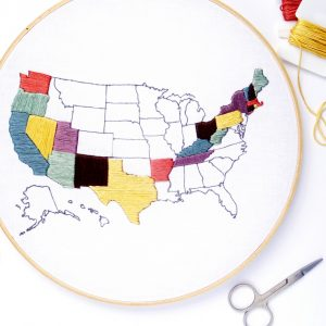 United States Travel Map Hand Embroidery Pattern