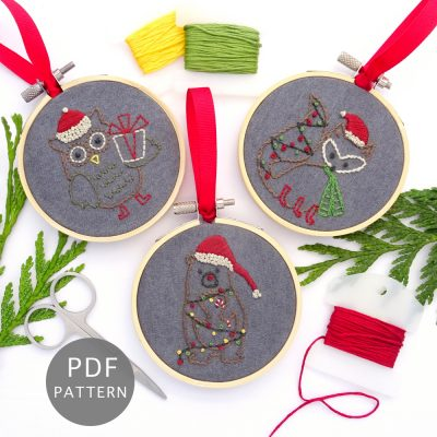 Woodland Animals Ornament Set Hand Embroidery Pattern